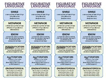 Figurative Language Bookmark. Printable bookmark (4 per sheet). PDF  Includes definition and examples of simile, metaphor, idiom, personification, alliteration, and onomatopoeia.
