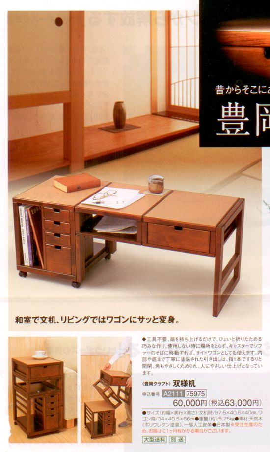 """Original poster of this fabulous desk says...""""You've gotta love how the desk folds into an end table… Unfortunately, these products are only available to Japanese residents, so the rest of us are out of luck.""""   I dissagree...we DIY'ers could figure out how to make our own for use in our conversions."""