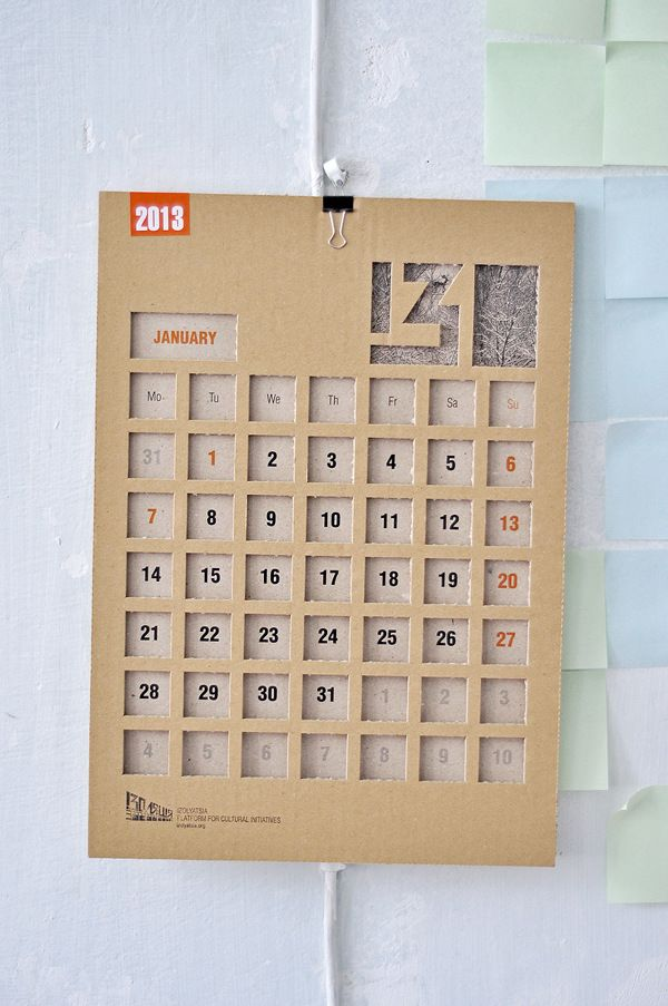 IZOLYATSIA 2013 calendar by Dmitry Sergeev, via Behance