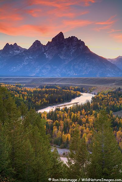 Grand Teton at sunrise with the Snake River, Grand Teton National Park, Wyoming