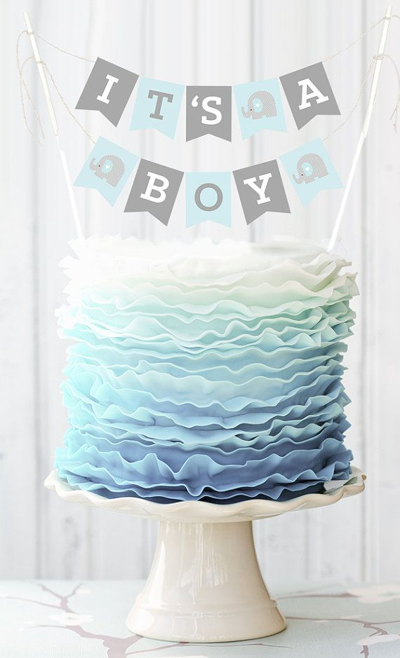 Blue Elephant Baby Shower Banner for Cake Decorations by ModParty                                                                                                                                                      More