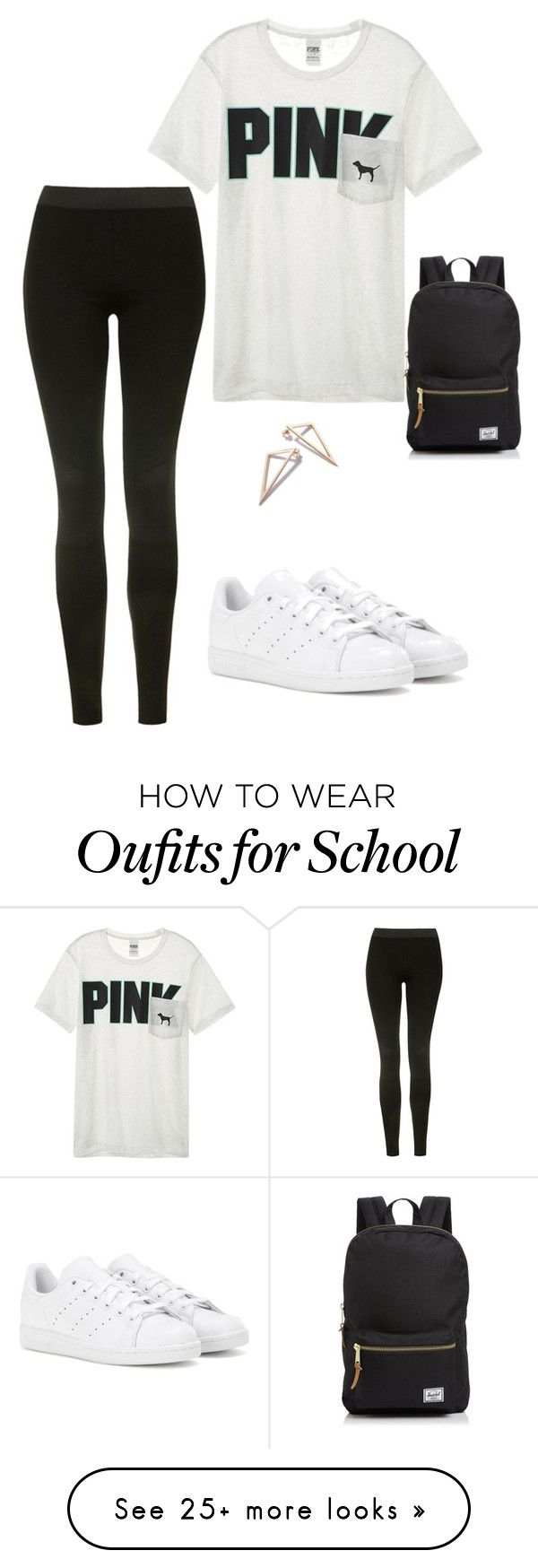 """""""Casual School Day"""" by kelseyracicot on Polyvore featuring Topshop, Victoria's Secret, adidas and Herschel Supply Co."""