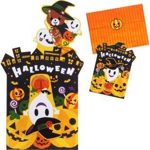 Fancy Pop-up Card (Halloween/Teddy Bear),Craft Cards,Card,Halloween,orange,ghost,pumpkin,Pumpkin ,bat,teddy bear,bat,broom,present,witch,Ghost