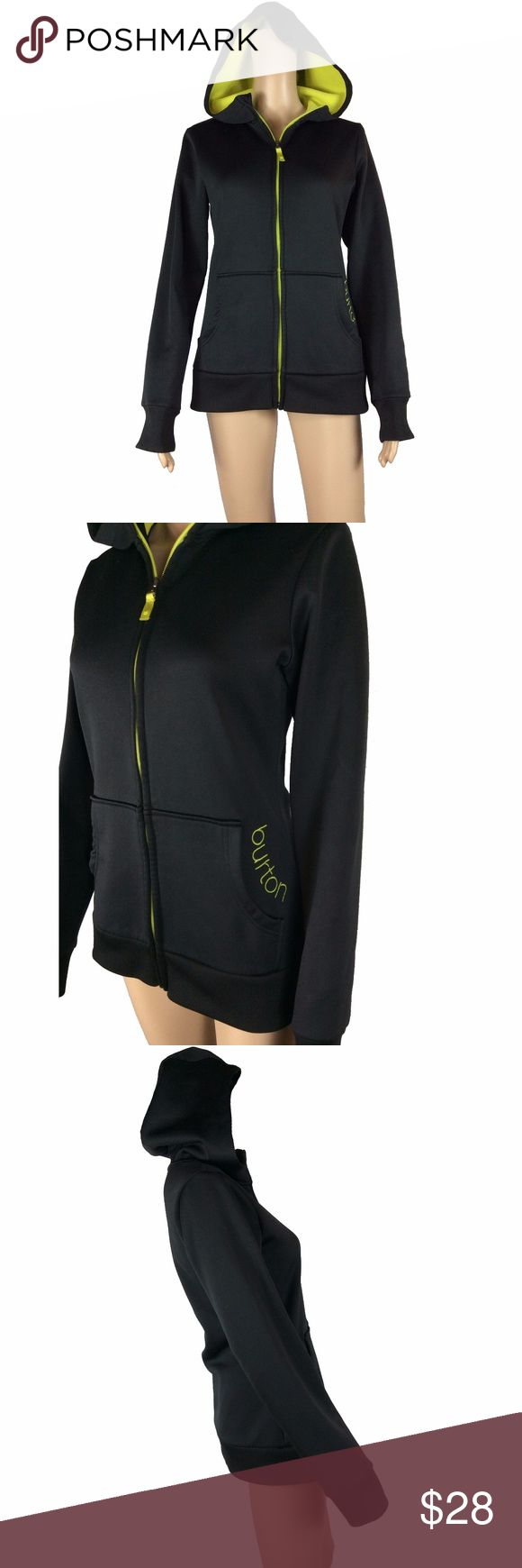 Black Burton zip up hoodie Black zip up hoodie with lime green fleece lining (lining on both pockets, hood and interior). size small. extremely soft material on both interior and exterior. zipper is also lime green. mannequin is 5'8 and a size XS/2.  has been washed, worn and laundered (hung to dry). excellent used condition. Burton Tops Sweatshirts & Hoodies