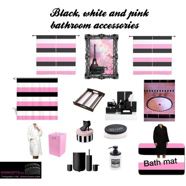 Black  white and pink bathroom stripes for him and her72 best Black and Pink images on Pinterest   Pink stripes  Hot  . Pink And Black Bathroom Accessories. Home Design Ideas