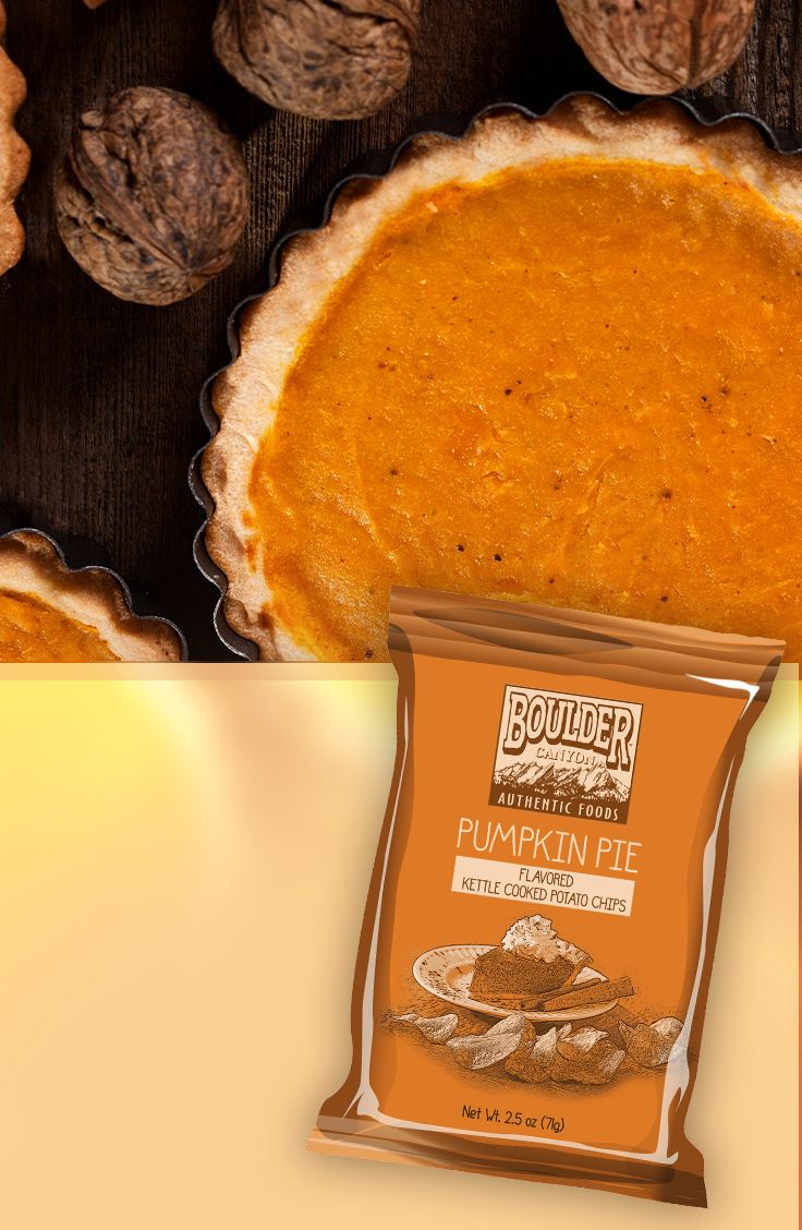 """Fall means pumpkin-flavored everything! Luckily, Boulder Canyon has you covered. These chips taste so much like the real thing - you'll wonder what you're eating!  We're giving away a $50 gift card and a year's worth of Boulder Canyon chips! Enter our Home for the Holidays Sweepstakes for your chance to win! http://www.bouldercanyonfoods.com/home-for-the-holidays"""""""