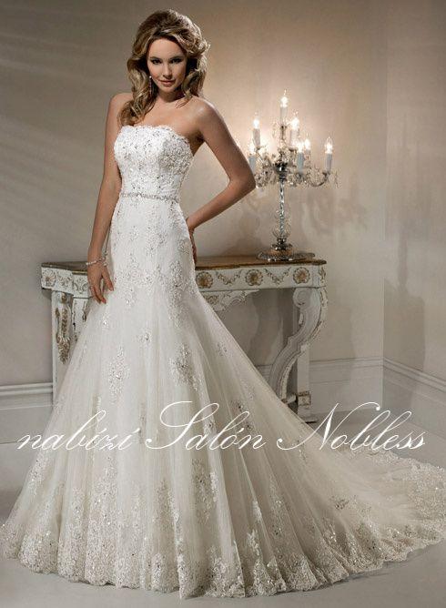 Svatební šaty Jessica č. 7 bílé, krajkové - Salón Nobless - půjčovna a prodejna svatebních a společenských šatů, doplňků, dekorací