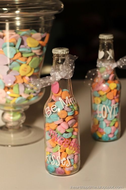 """Conversation Hearts...could also incision """"Red Hot Hugs and Kisses"""" with Red Hots and kisses if they'd go through the top."""