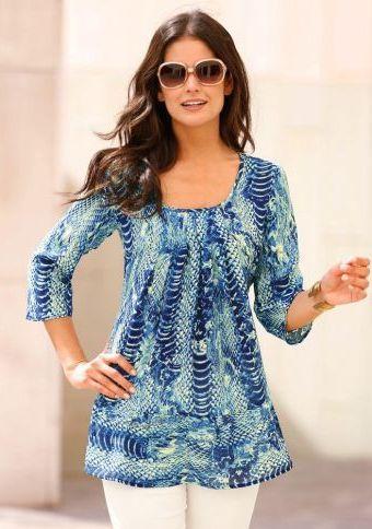 Halenka s potiskem a 3/4 rukávy #ModinoCZ #blouse #trendy #printed #stylish #bluza #tunika #moda #vzor