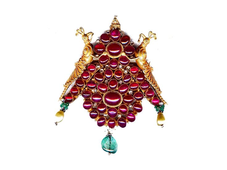 Antique two birds pendant studded with burmese rubies, emeralds and pearls, from Karni Jewellers.