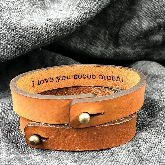 Leather bracelet for men Christmas gift idea for Boyfriend