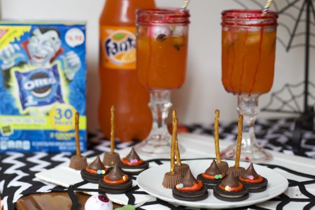 Create a spooky witch Halloween Party with these easy Halloween Food Ideas. OREO Witches Hats and Fanta Witches Brew are crowd pleasers.