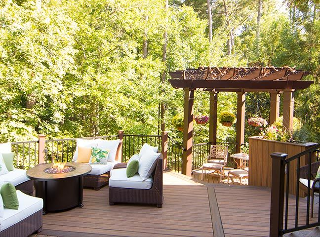 This beautiful backyard has all the elements for the perfect outdoor space. From the decking all the way up to the custom octagonal Trex Pergola shade structure, this area embodies relaxation! With friends and family watching close by, a wedding took place beneath this intimate pergola. It couldn't have been more perfect. Supported by single beams, traditional end detail and 8″ x 10′ square columns, this outdoor room is complete!