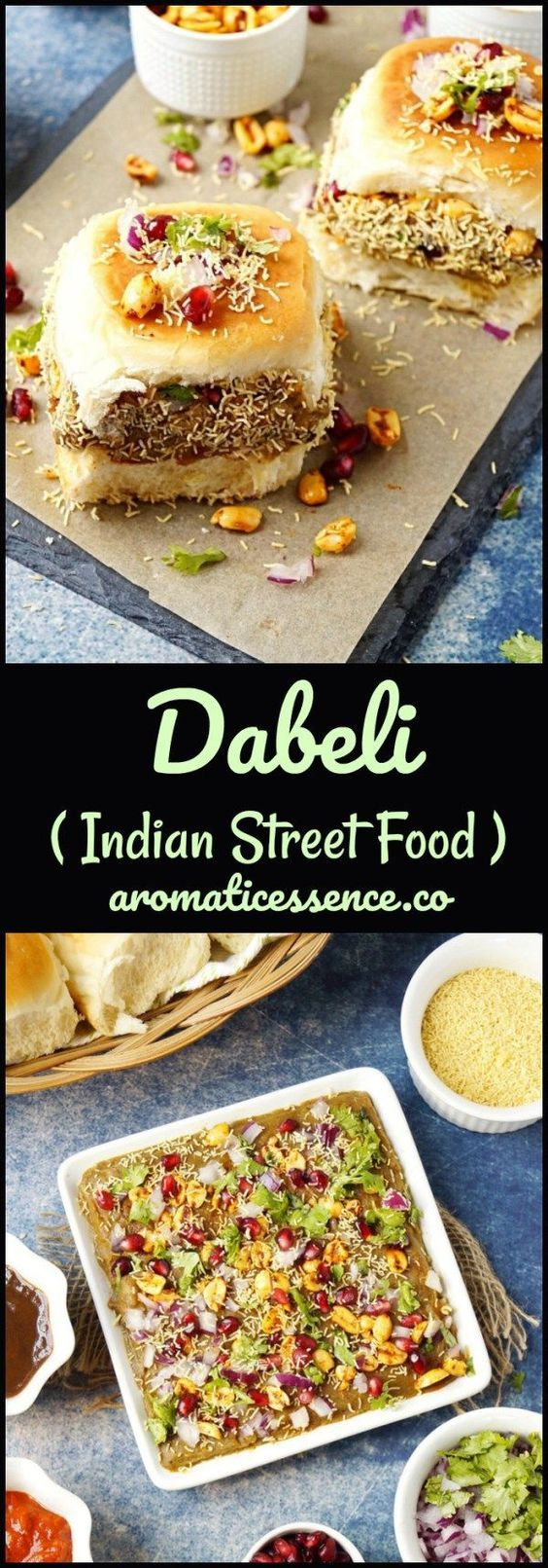 Dabeli is an Indian version of mini sliders, A bun slathered with sweet and spicy chutney's is stuffed with a sweet, spicy and tangy potato filling, topped with onions, tomatoes & other yum goodies. Layers of flavor& texture in a single bite! #dabeli #streetfood #vegetarian