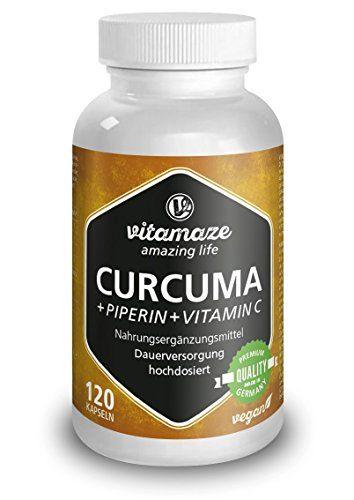 Capsules de Curcuma + Pipérine et Curcumine fortement dosée + vitamine C, 120 capsules vegan, produit de qualité allemand, maintenant au…