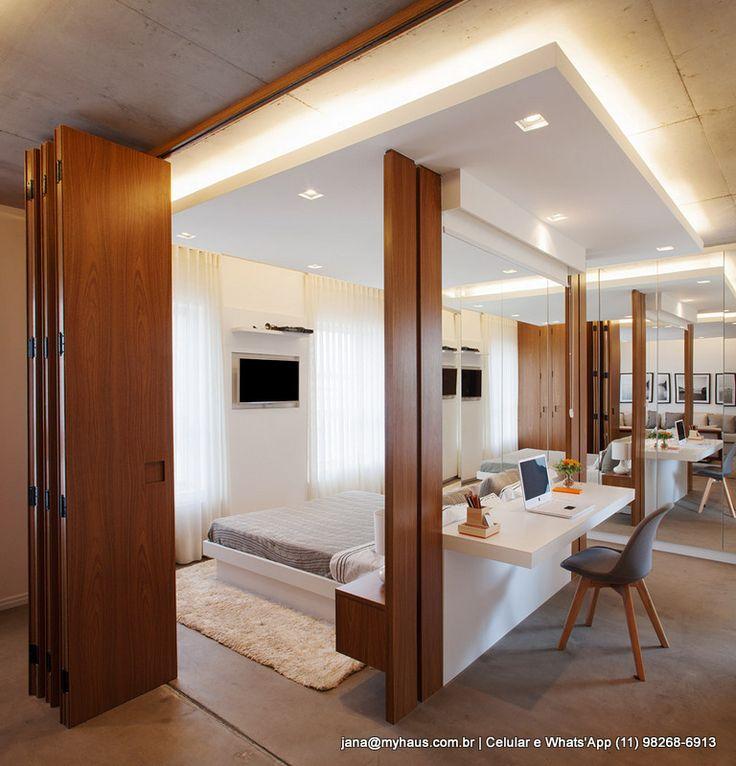 Paredes móveis compõem os ambientes. #quarto #arquitetura aberta #maxhaus…