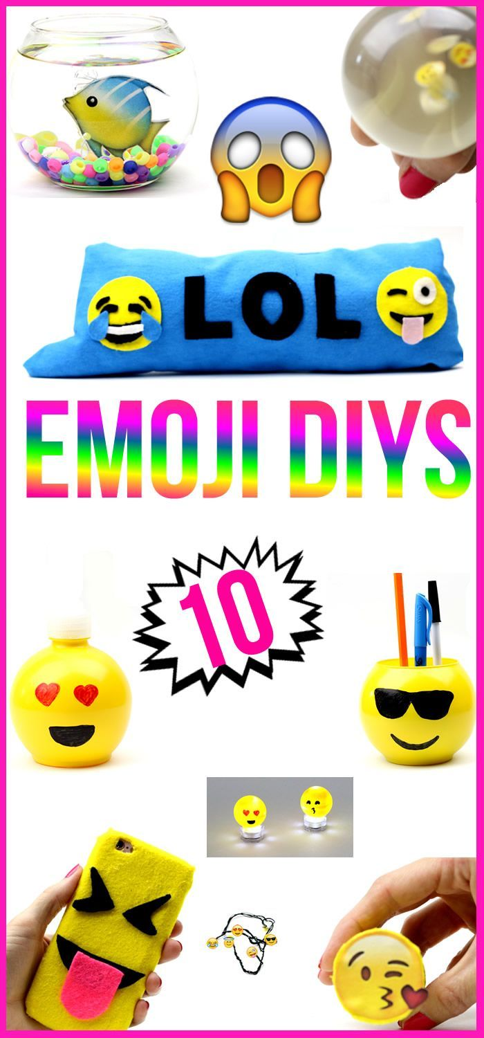 Learn how to make 10 DIY Emoji Projects - that you NEED to try!  Watch how to make an Emoji phone case, Emoji Stress Ball, Room Decor and Room Organization ideas! Find out how to make some cool & unique DIY Crafts inspired by Emoji's. These are all great DIY projects to do when you are bored! In this DIY video tutorial I will show you how to make some fun Emoji DIY Crafts -(room decor ideas) mini side table, text message Emoji pillow, Emoji lights, Emoji Mini Gift Box, Fake Fish & Soap D
