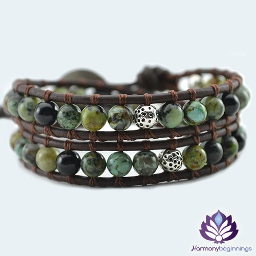Our Discovery wrap braceletis designed with African Turquoise and Onyx Gemstones. This Turquoise is very unique type of African Turquoise and more in the greenish hues than our other Blue Turquoise Gemstones. Healing and Protection emanate from this beautiful design. Created to aid you in bringing your energy back to balance. Discover your inner power, allow and stay within that space of possibility.  On brown leather (or vegan alternative*), ...