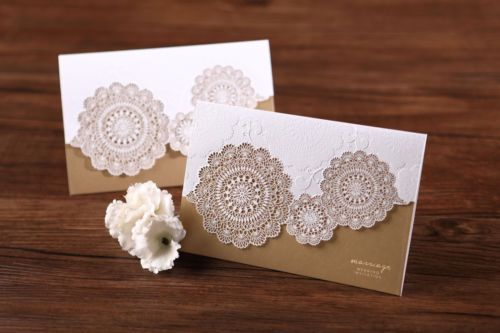 Wedding Invitation - Tri-Fold Laser Cut Gold / B1007 / Sample Only
