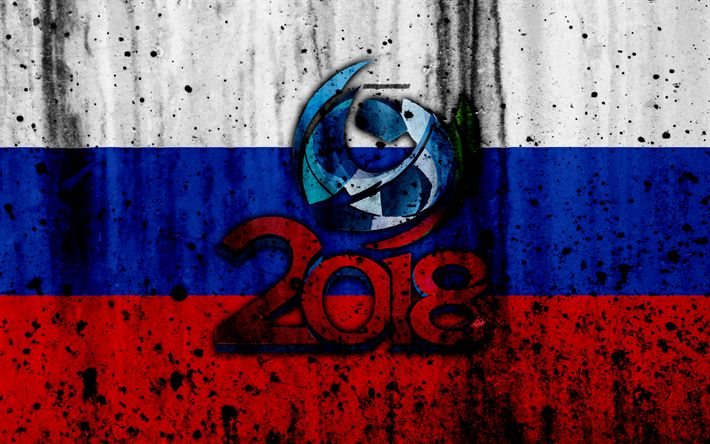 Download wallpapers 2018, FIFA World Cup Russia, grunge, 4k, football championship, Russia 2018, football, logo