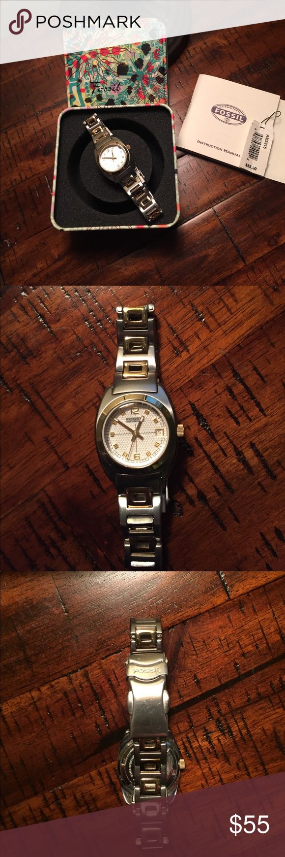 SALE 🎉Fossil Watch 2-tone Pretty 2-tone watch. Completely with tin container and paperwork. A few scratches on back in photo Fossil Jewelry