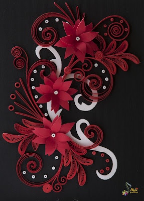 neli: Quilling card - black , red and white