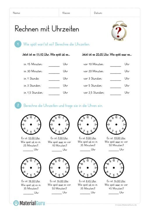 ein kostenloses mathe arbeitsblatt zum rechnen mit der uhrzeit auf dem die kinder verschiedene. Black Bedroom Furniture Sets. Home Design Ideas