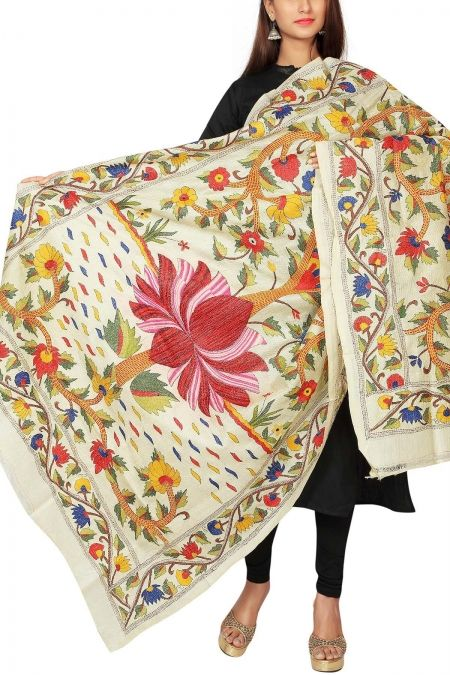 Beige Lotus Kantha Stitch Tussar Silk Dupatta