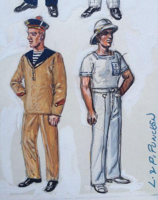 """Funcken - Originele gouache afbeelding (p.143) voor """"Les Uniformes & Armes volume 2 - Guerre 1939-1945"""" - (1973)  Matrozen van de Franse Marine. Gouache illustratie uit 1973 geschilderd door de echtgenoten Funcken (Liliane & Fred) voor """"L'Uniforme & les Armes des Soldats de Guerre 1939-1945"""" gepubliceerd in 1973 door Casterman. Prestigieuze schilderij voor een naslagwerk. De Funcken hebben jarenlang gewerkt op de uniformen van verschillende oorlogen. Zeer goede staat.  EUR 0.00  Meer…"""
