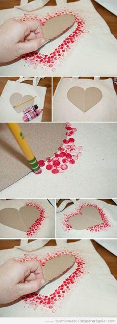 Estampar tejidos con la goma de un lápiz #diy #manualidades #tejidos #estampar #estampación  www.hogardiez.com