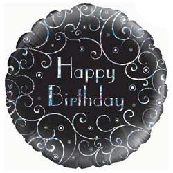 Birthday Black Swirls Foil Balloon with National UK Delivery only £9.95 Boxed
