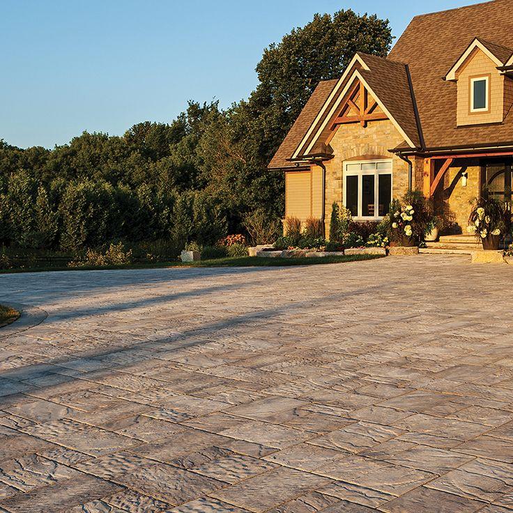 Driveway and walkway landscape. Project application using Villanova pavers. Color: Villanova Champagne by Oaks Landscape Products.