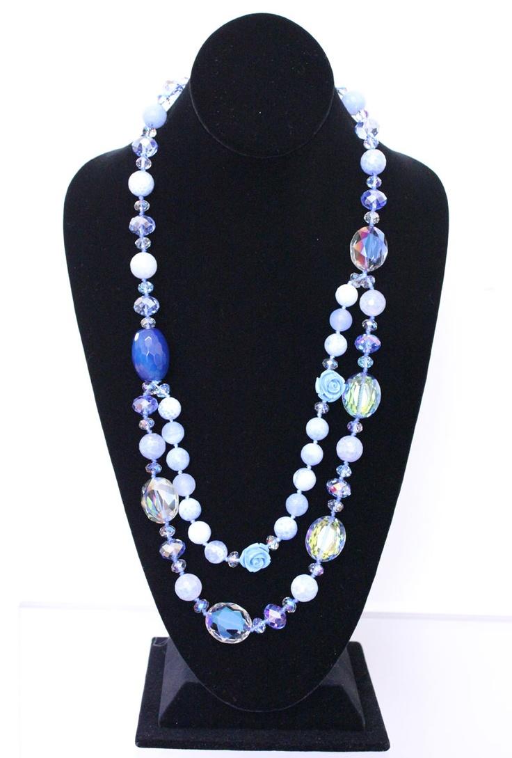 Sea Blue Glass Beads With a Rose Necklace http://nyfashionstar.com/new-arrivals/sea-blue-glass-beads-with-a-rose-necklace.html