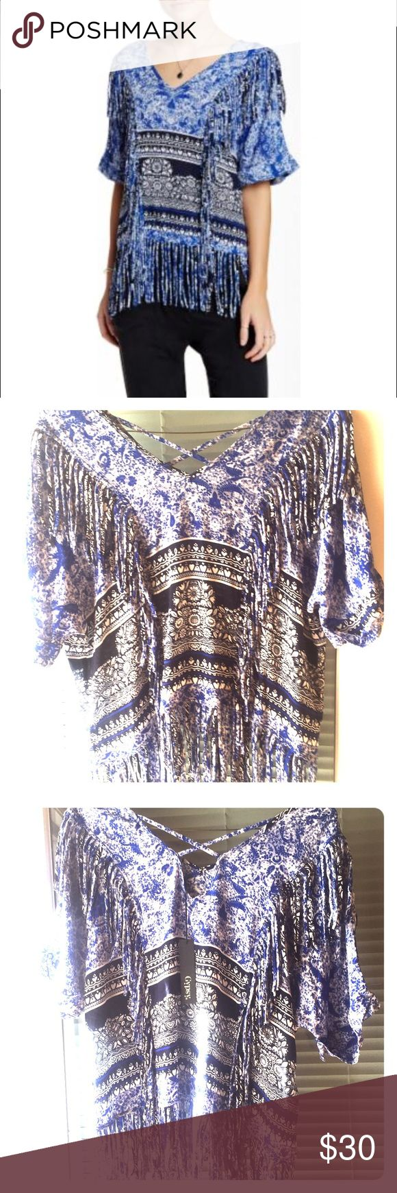 Gypsy 05 Printed Voile Fringe Blouse NWT V-neck Gypsy 05 fringe blouse with criss-cross back straps and blue print   NWT size medium   100% rayon   fits true to size! Gypsy 05 Tops