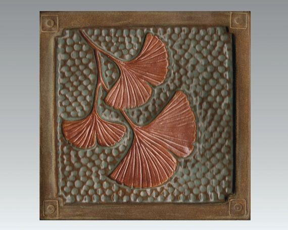 """6"""" Gingko Leaf  Ats and Crafts tile for fireplace and kitchen green and metallic copper glaze. Craftsman/Mission/Bunglow/style"""