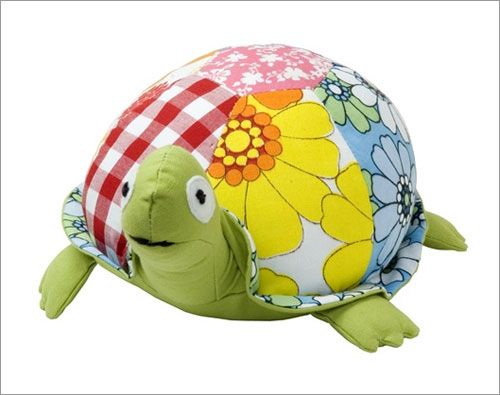 Buy Allen Ave Color Zoo Taylor the Turtle Stuffed Animal in Green Patchwork (Allen Ave Childrens Furniture, Childrens Toys, Stuffed Animals)
