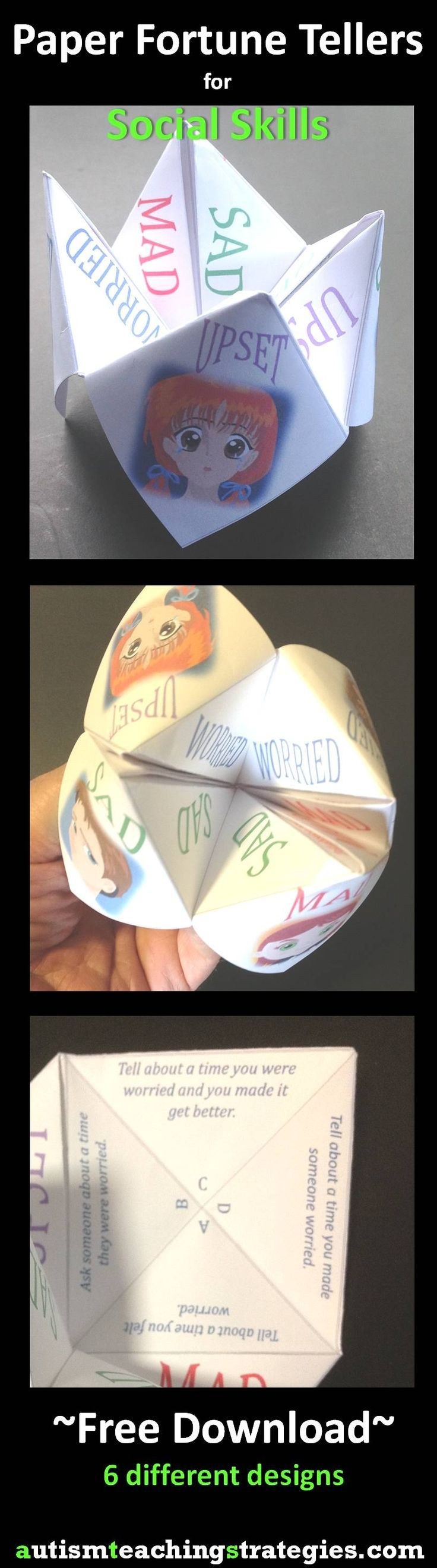 "Another paper ""fortune teller,"" this one for facilitating conversation and problem solving about emotions. FREE DOWNLOAD!"