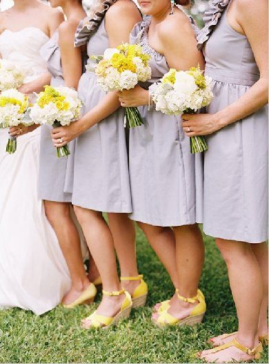 Pair ruffled lavender #bridesmaid dresses with bright yellow #wedges. (Photo by: Ryan Ray)