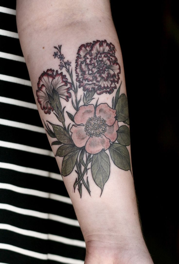 Carnations and rose done by alice carrier at wonderland for Tattoo shops in portland oregon