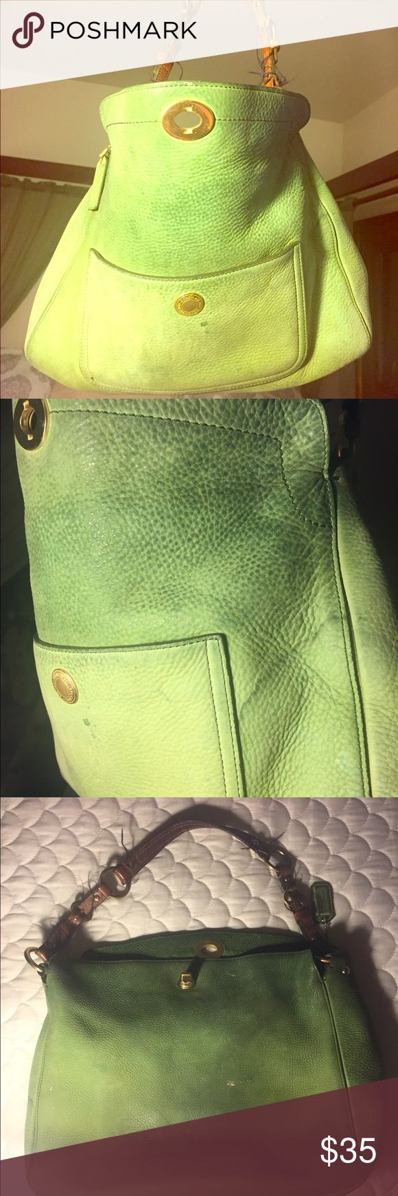COACH Pistachio Green Suede 💚PRICED TO SELL💚 This bag shows sign of wear & is PRICED TO SELL💙Paid $400 if you have any questions please let me know. Coach Bags Hobos