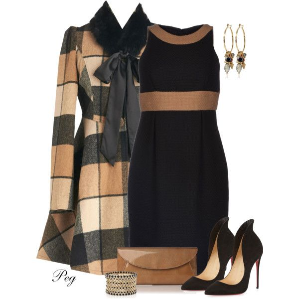 Plaid Coat by derniers on Polyvore featuring мода, Gio' Guerreri, Ryu, Christian Louboutin, L.K.Bennett and White House Black Market