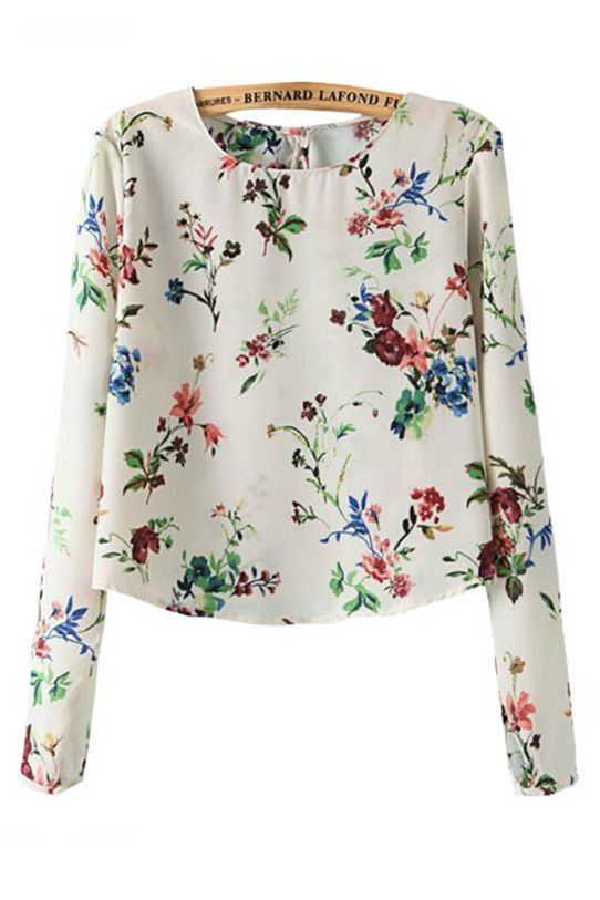 Fresh Floral Round Neck Chiffon Blouse [DLN0092] - PersunMall.com