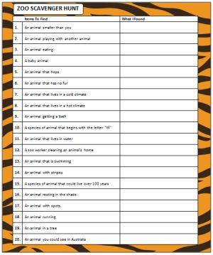 Zoo Scavenger Hunt (free printable) #ScavengerHunt
