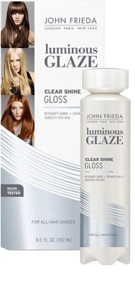 John Freida Luminous Glaze Clear Shine Gloss - 5 minute treatment to preserve color and keep hair shiny.  Good stuff.  $10.