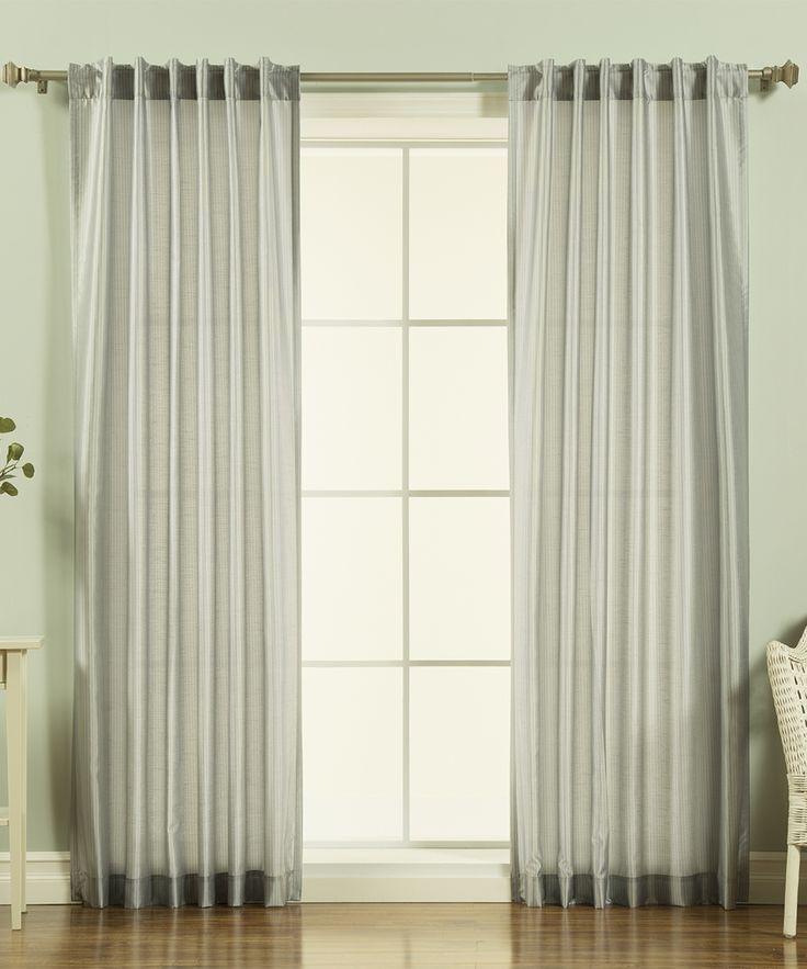 Gray Faux Silk Curtain Panel