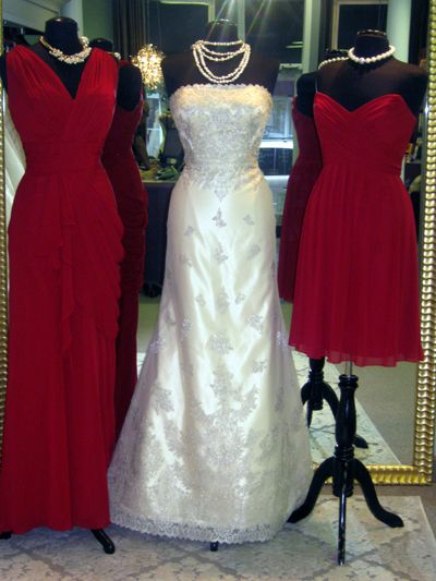 We took a Matthew Christopher wedding gown in gold and paired bridesmaid dresses to give you an idea on the best colors to complement the gold wedding gown.