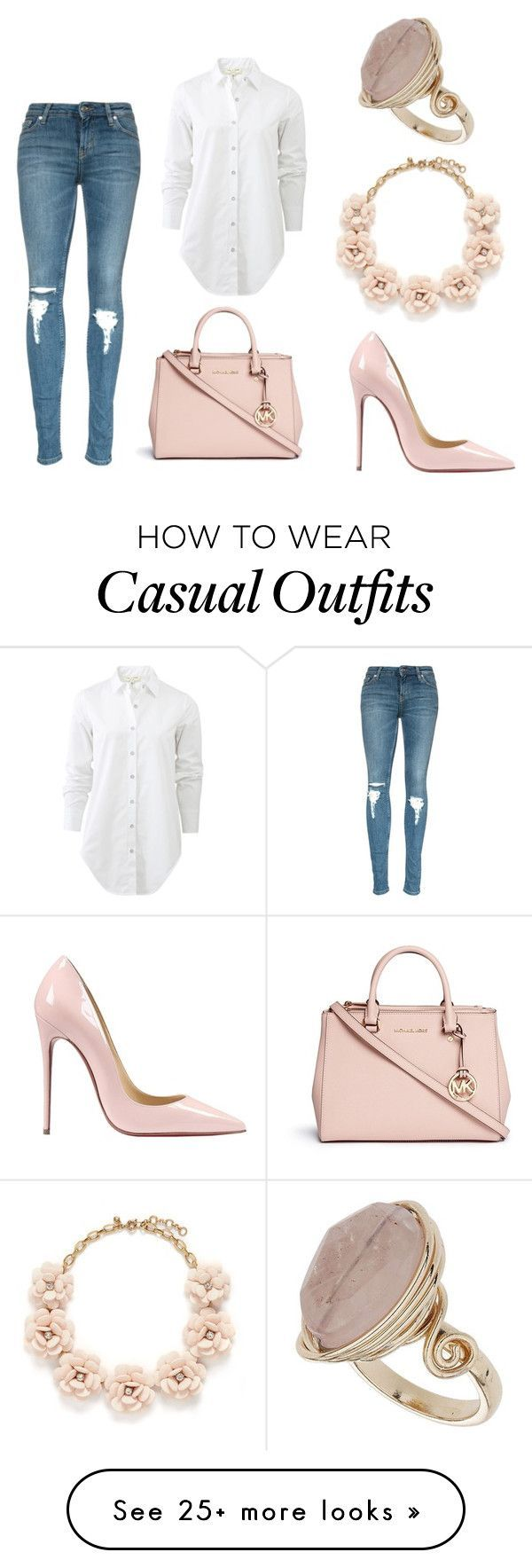 """""""#nude #casual #chic"""" by nicolekon on Polyvore featuring Michael Kors, rag & bone, Christian Louboutin, J.Crew, Topshop, women's clothing, women, female, woman and misses"""