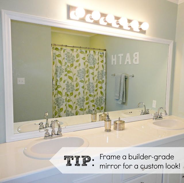 Bathroom Faux Paint Ideas: FRAME MIRROR Like Mirror Mates But Cheaper. At LOWES, Pick Out Cheap Faux-wood Trim. Faux Wood