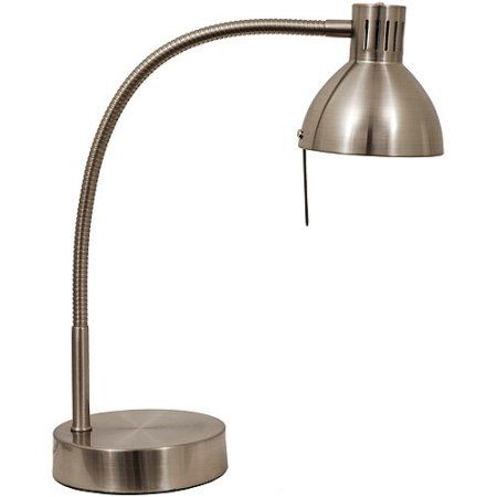 Mainstays Halogen Desk Lamp Brushed Steel Silver Halogen Desk