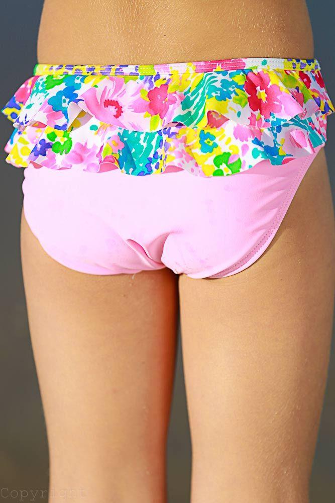 Monet Print Bikini With Back Frills  Girls Swimwear 2015 -3931